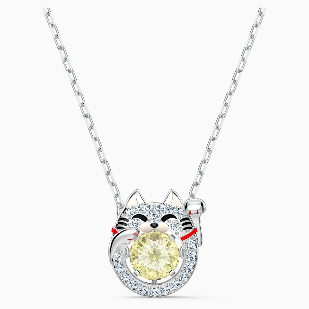 COLLIER SWAROVSKI SPARKLING DANCE CAT, MULTICOLORE CLAIR, MÉTAL RHODIÉ