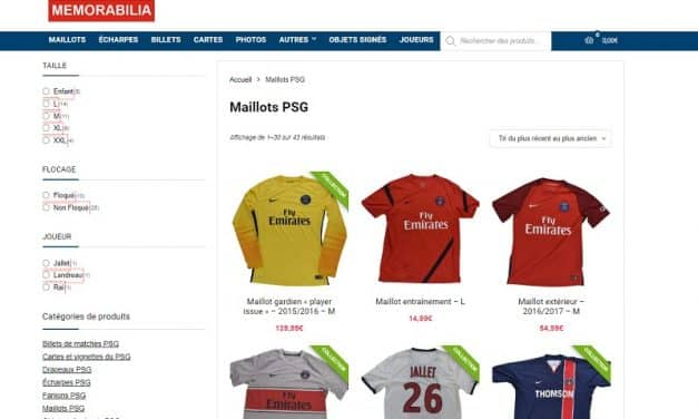 Avis Paris Memorabilia : boutique spécialiste du Paris Saint-Germain