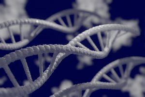 ADN blanc sur fond bleu