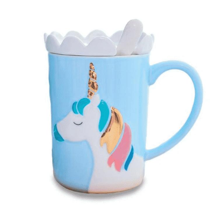 Tasse bleu Licorne blanche et petit nuage
